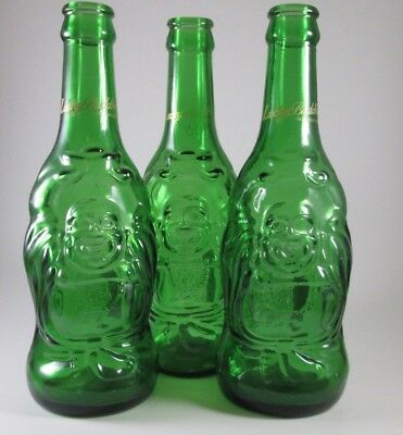 3 Lucky Buddha Beer Bottle - Empty Green Glass - Collectible Craft Budha EUC Lot