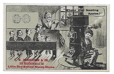 Red  School House Shoes Victorian Trade Card/south Haven ,conn.toasting Apples?