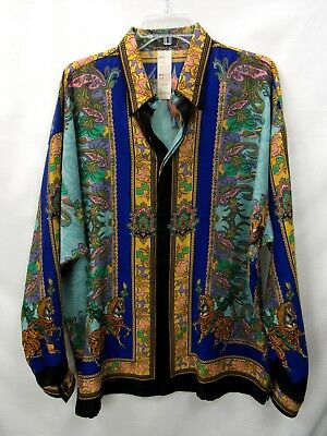 VERSACE ISTANTE Vintage 1990s Wool Colorful Knight Print Shirt sz 52