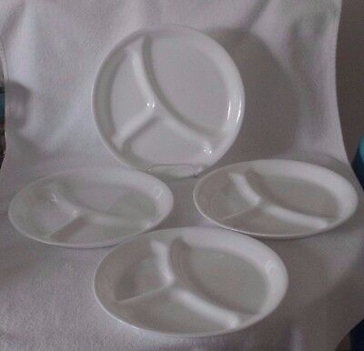 """Corelle Corning Winter Frost White 8 1/2"""" Divided Plates - Set of 4"""
