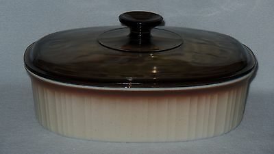 Corning Ware French Bisque Casserole Roaster Baking Dish F-2-B w/ Lid