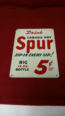 Vintage (1940s) Canada Dry Spur Tin Sign