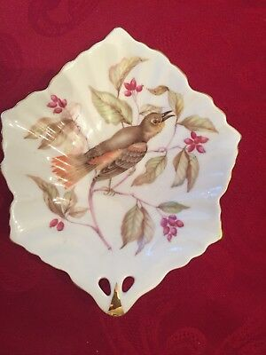 Mitterteich Bavaria Germany Bird Floral Leaf Shaped Candy Nut Trinket Dish VG