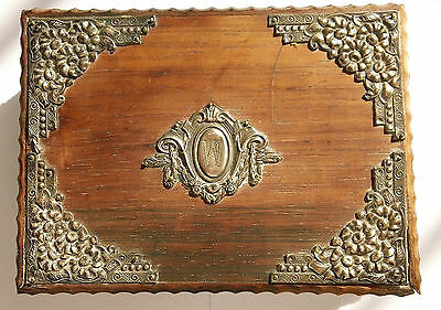 Antique Carved Victorian Wooden Jewelry Box W/ Sterling Repousse Floral Wreaths