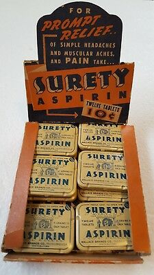Surety Aspirin Rexall Store Display with Tins very Old