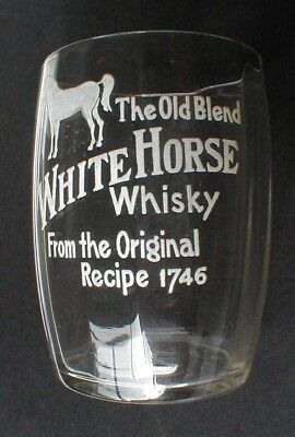 """Vintage White Horse Painted 3"""" Whisky Glass"""