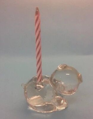 Vintage Solid Glass Pig Figurine, Birthday Candle Holder? Adorable Mini Pig