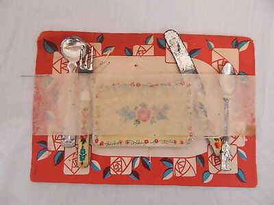Vintage childs play set silverware Old New Stock