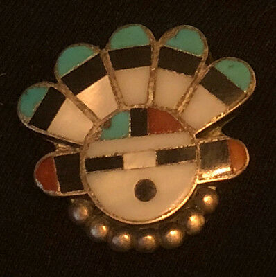 Early Zuni Myra Tucson or Linda Hustito Sun Face Pin Mosaic Inlay 1940s-50s