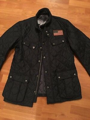 Barbour Steve McQueen Collection Black Quilted Jacket Size Large U.S. Flag
