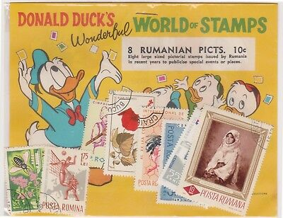 (V4-68) 1970s Romania old stamps pack 8stamps pictorials (Donald duck) (BN)
