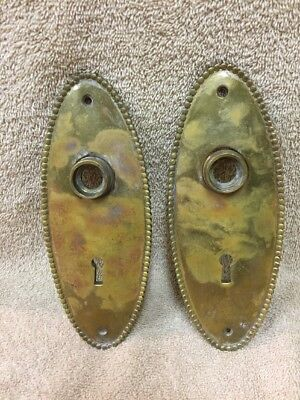 Antique Brass Classic Oval Door Knob Back Plates Escutcheons