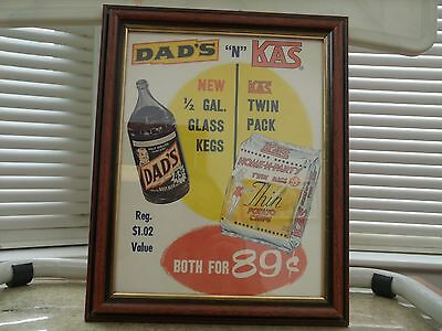 Vintage Framed Store Advertising - Dad`s Root Beer