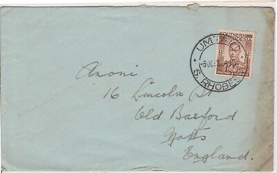 (V2-68) 1936 North Rhodesia 11/2d envelope to England used (BR)