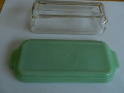 Vintage Fireking Jadeite Butter Dish Crystal Clear Lid Excellent Condition