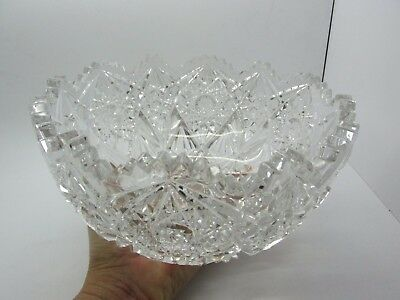 Large Antique ABP American Brilliant Period Cut Crystal Serving Bowl Thick Heavy