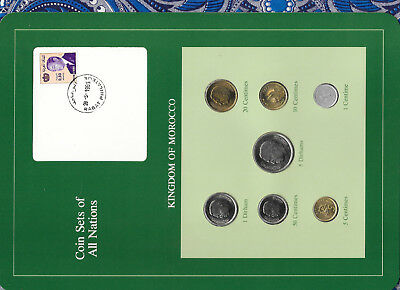 Coin Sets of All Nations Morocco UNC 1974-1980 w/Card 5 Dirhams 1980