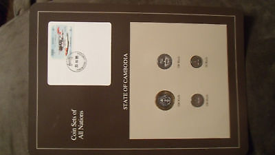 Coin Sets of All Nations Cambodia w/ card 1994 UNC Plane stamp Pacemaker
