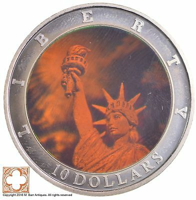2000 Liberia 10 Dollars Holographic Statue Of Liberty *2611