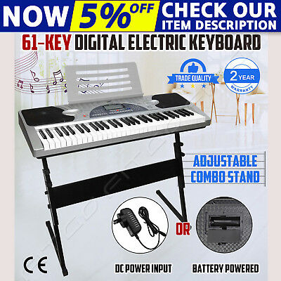 61 Keys Electronic Keyboard Electric Piano Digital Music LCD Display with Stand