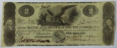 1862 $2 Two Dollar Bill Note Currency Bank State South Carolina Charleston SC