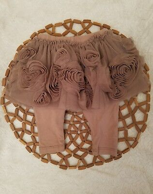 Baby Gap Skort Skirt Leggings Holiday Brown Tulle Flowers Holiday Size 3-6 month