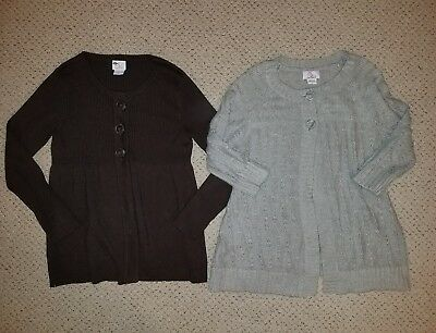 LOT of 2 Motherhood Maternity gray brown fall winter cardigan size Large