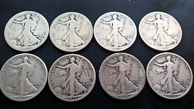 Lot Of 8 Walking Liberty Half Dollars - 1916 thru 1918