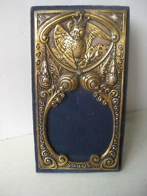 Antique Victorian Repousse .925 Sterling Silver & Velvet Photo Picture Frame