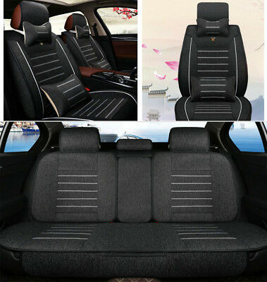Full 5 Seats Car Seat Cover Front+Rear Linen Cushion Auto Mat W/Pillow 4 Seasons