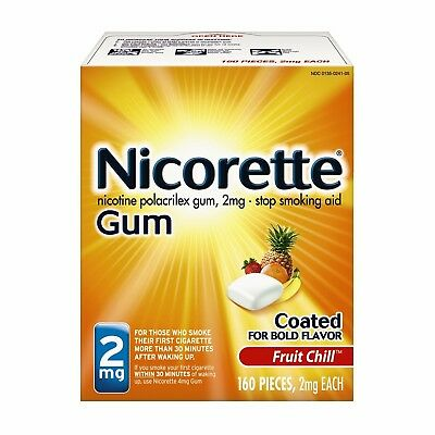 NEW Nicorette 2mg Fruit Chill Gum, 160 pieces Stop Smoking Aid. EXP: 2019