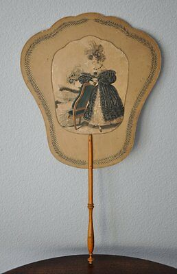 ANTIQUE FRENCH SCREEN HAND HELD, HAND PAINTED DOUBLE SIDED FAN - Pre-1901