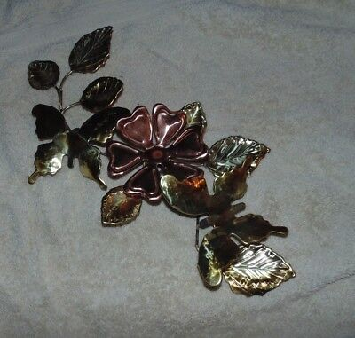 Home Interior Flower and Butterfly Wall Plaque  Brass and Copper Color Tin