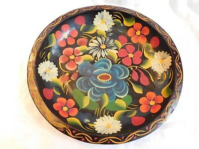 """Carved Wood Hand Painted Mexico Black Floral Folk Art Old 11""""Batea Bowl Plate #5"""
