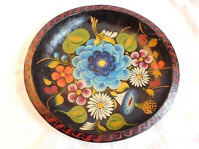"""Carved Wood Hand Painted Mexico Black Floral Folk Art Old 11""""Batea Bowl Plate #4"""