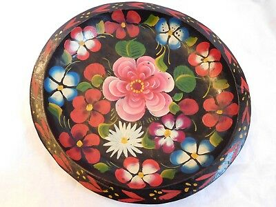 """Carved Wood Hand Painted Mexico Black Floral Folk Art Old 9"""" Batea Bowl Plate #1"""