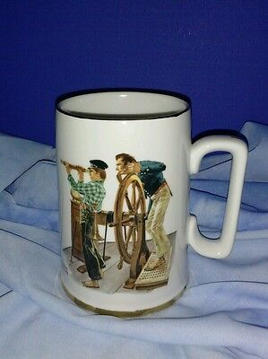River Pilot  Mug  With Gold Trim by Norman Rockwell - 1985