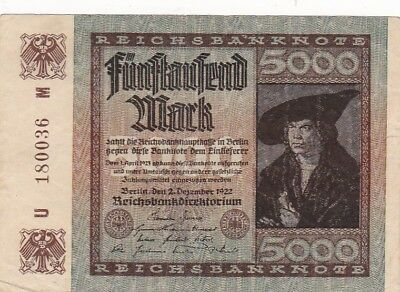 1922 Germany 5,000 Mark Note, Pick 81a
