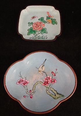 2 Vintage Chinese Enamel H.P.Gilt Copper plate & bowl.  Lt Qing/Early Republic.