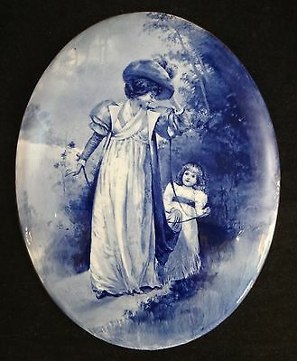 "Rare Lg. Royal Doulton Blue Wall Plaque. Woman & child, 1902 -22, 9.6"" x 7.6"""