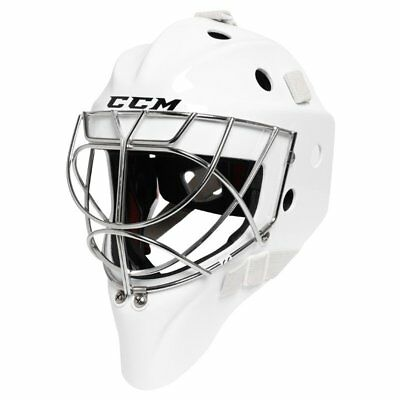 CCM Pro Sr. Cat Eye Cage Hockey Goalie Mask White Helmet With Bag Size Small