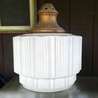 School House Art Deco Skyscraper Antique Milk Glass Shade Pendant Light Fixture