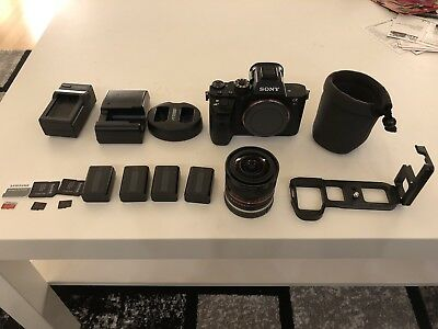 Sony Alpha a7R II 42.4MP Digital Camera + Rokinon 8mm f2.8 lens with shaved hood