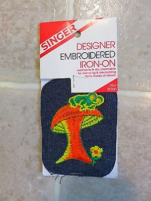 Vintage MUSHROOM FROG Embroidered PATCH Denim Blue Jean Psychedelic Iron-On Drug