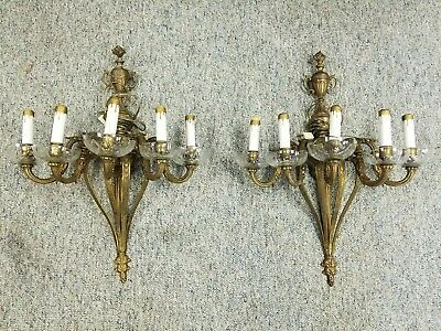 Pair of SPAIN BRASS VITORIAN CRYSTAL SCONCES CHANDELIER WALL FIXTURE 1950's