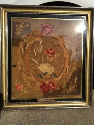 Antique Period Framed needleworked large picture depicting flowers, ,28x25