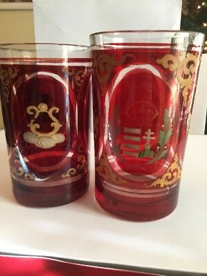 Two Vict. Bohemian enameled ruby flashed overlay art glass spa glass tumblers