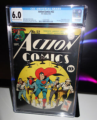ACTION COMICS #52 CGC 6.0 Golden Age SUPERMAN Ameri-commandos DC Comics