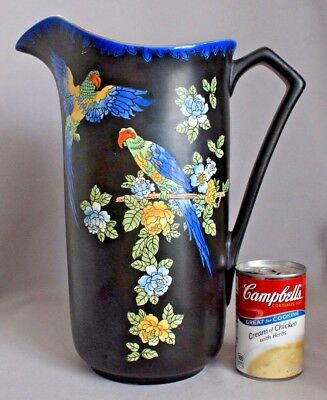 "Vtg Antique 13"" PITCHER PARROTS Devon Ware Fieldings Stoke on Trent ENGLAND Vase"