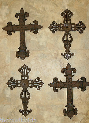 (4) 2 pair,CAST IRON CROSSES,LARGE,FLEUR DE LIS,CAJUN,FRENCH COUNTRY,#4,#19